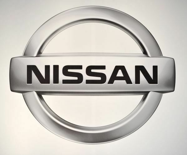 The logo for Nissan on display at the Chicago Auto Show